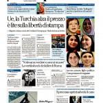 Prima pagina la Repubblica 8 Marzo 2016
