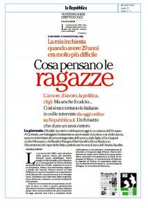 """""""La mia inchiesta quando avere 20 anni era molto più difficile"""" di Natalia Aspesi (la Repubblica 8/03/2016 )"""