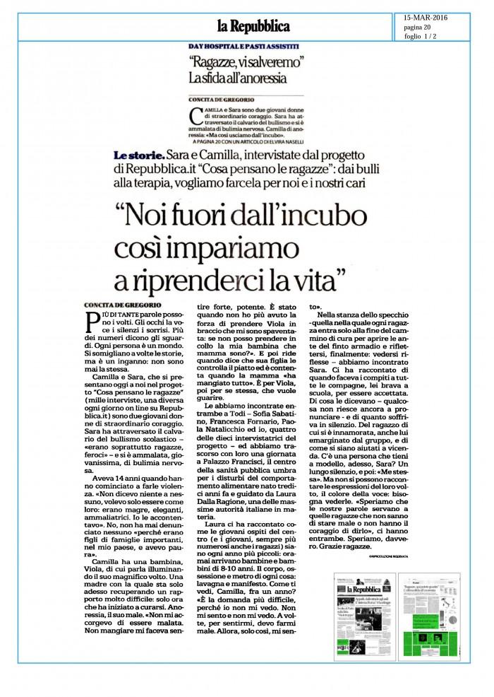 """""""Noi fuori dall'incubo così impariamo a riprenderci la vita"""" di Concita De Gregorio (15 Marzo la Repubblica)"""