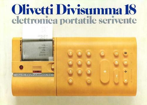 """La calcolatrice elettronica portatile Divisumma 18 del 1973, <A href=""""http://www.storiaolivetti.it/"""">www.storiaolivetti.it</A> - Associazione Archivio Storico Olivetti, Ivrea"""