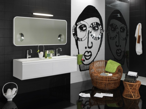 Lanciato l'anno scorso, Cover di Regia è una proposta adatta a uno stile giovane e informale. In foto lavabo monoblocco sospeso e specchio