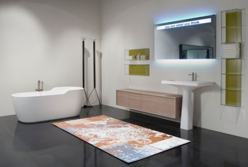 Il lavabo Washi di Antonio Lupi, grande bacino rettangolare ma alleggerito da bordi sottili e angoli stondati