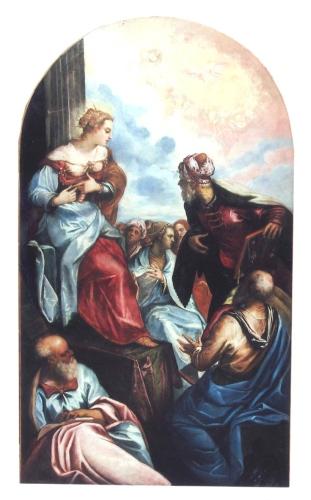 """Santa Caterina che parla ai dottori, di Domenico Tintoretto, esposto dalla """"Galleria Parmigianino"""". Fine 1500, cm 240x135"""
