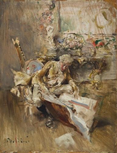 Giovanni Boldini. Il collezionista di stampe. Olio su tavola 25x70Epoca: 1875 circa.Presentato dalla galleria Silbernagl Volker di Milano