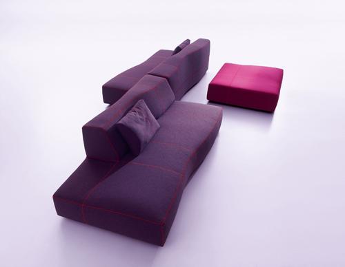Bend sofa, differenti moduli da assemblare, disegnati da Patricia Urquiola per B&B Italia nel 2010