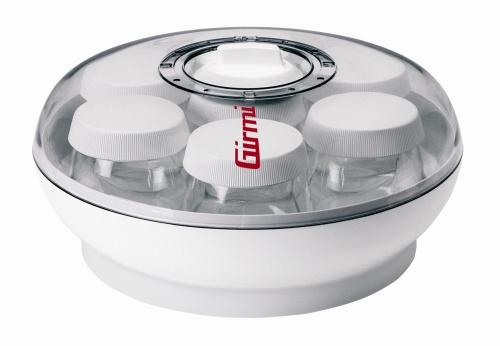 Yogurtiera di Girmi, per preparare tanti vtipi di yogurt sano e naturale. Ha sette vasetti in vetro per la preparazione fino a 1 kg di yogurt eun pratico indicatore di tempo di utilizzo sul coperchio. Costa 19,90 euro