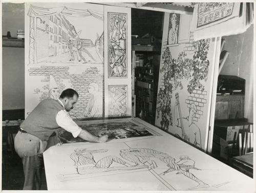 Piero Fornasetti, in uno scatto storico