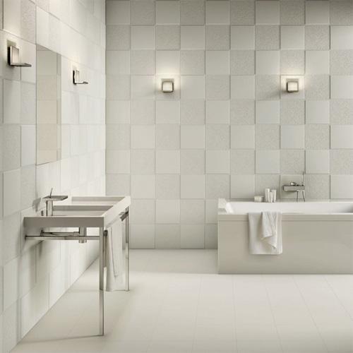 Flexible Architecture di Ceramica Sant'Agostino: pasta bianca  rettificata, superficie 3D, bianco matto e lucido in contrasto, formato  30x30