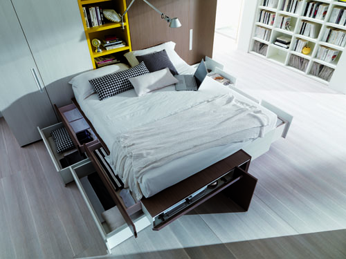 L ufficio in camera da letto con i mobili trasformisti casa design - Mobili letto salvaspazio ...