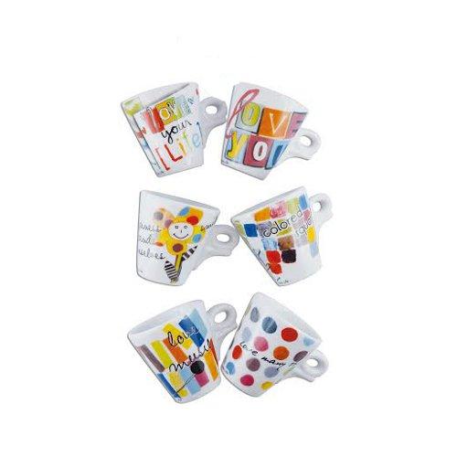 Ancàp presenta la collezione Happy life: tazzine, caffettiere, teiere, lattiere, zuccheriere e accessori porta-bustine coordinati (sei tazze caffè con piatto 104,90 euro)