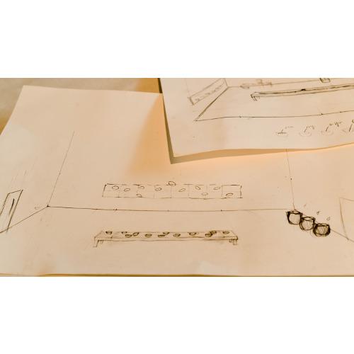 Gregorio Botta nel suo studio: schizzi del progetto, foto di Elena Janniello