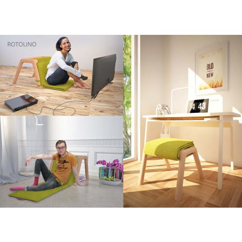 """La giuria ha segnalato il progetto Rotolino di Libero Rutilo """"per la flessibilità dell'oggetto da sedia con schienale a chaise longue, creando struttura compatta ma allo stesso tempo articolabile nello spazio"""""""