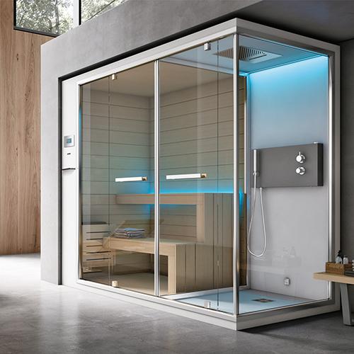 Un'oasi di benessere: Ethos C di Geromin combina insieme doccia, bagno turco e sauna