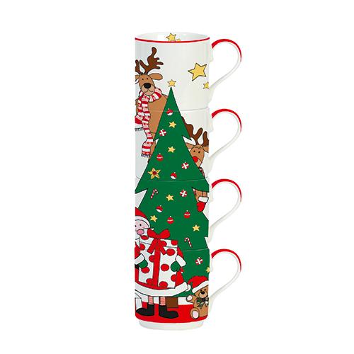 Per i fanatici del Natale 1: set di mug impilabili in porcellana (24,90 euro) della collezione Santa & Friends di Easy Life