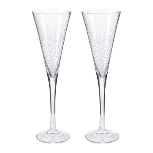 Per il brindisi di mezzanotte: bicchieri da champagne Vinter di Ikea con decorazioni che ricordano le bollicine (2 pezzi 5,99 euro)