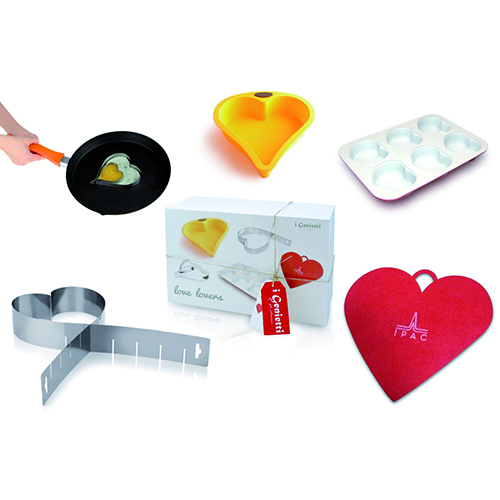 Nel set Love lovers de I genietti di Ipac gli utensili da cucina diventano romantici (40 euro)