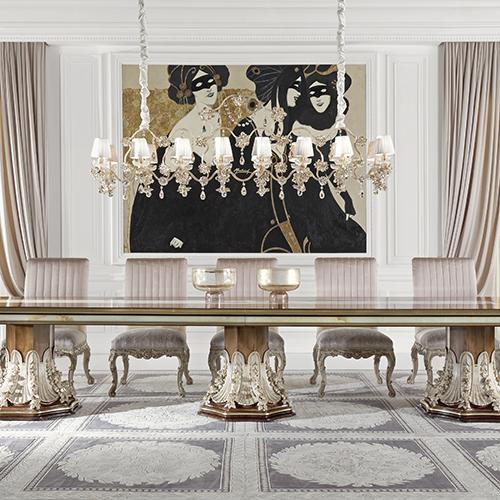 La Grande Dame di Jumbo collection, con tavolo in radica di frassino e marmo onice, sedie in velluto e tessuto jacquard