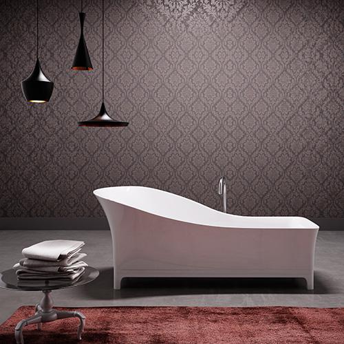 Sofa di Glass 1989  è una vasca in MineraLite color bianco lucido con struttura in legno. Lo schienale alto ed ergonomico garantisce il relax