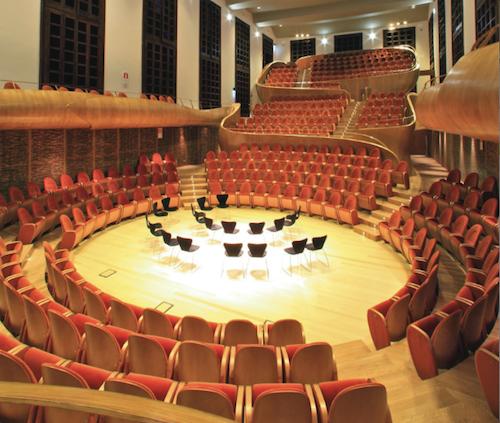 Auditorium Giovanni Arvedi, categoria Design per la comunicazione, progettato da Giorgio Palù e Michele Bianchi, per la  Fondazione Giovanni Arvedi e Luciana Buschini     Compasso d'Oro per aver realizzato con bellezza ed eleganza il concetto di armonia pari a un grande strumento musicale
