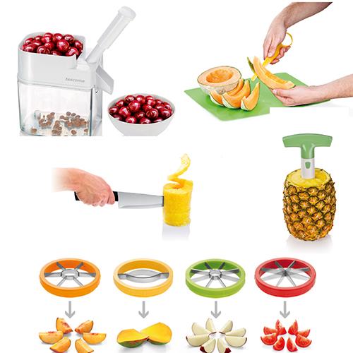 Coltello per melone antiaderente (17,90 euro), affetta ananas (da 9,90 a 16,90 euro), affettatori multiuso (24,90 euro), snocciola ciliegie (22,90 euro) di Tescoma