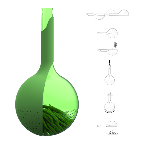 Viviana Degrade, Veggie, colino che funge anche da centrifuga per la verdura, Red Dot Award: Design Concept, a Singapore fino al 22 settembre