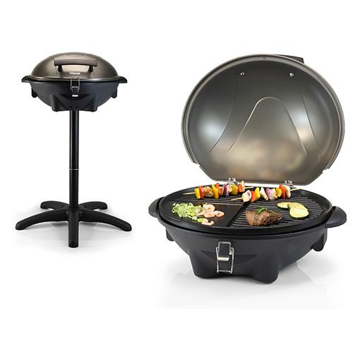 Il barbecue BQ-2816 elettrico di Tristar si utilizza sia in terrazzo che a tavola grazie al vano di cottura staccabile dal supporto (149 euro)