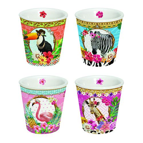 Bicchieri da caffè della collezione Fancy Animals di Easy Life (4 pezzi 20 euro)