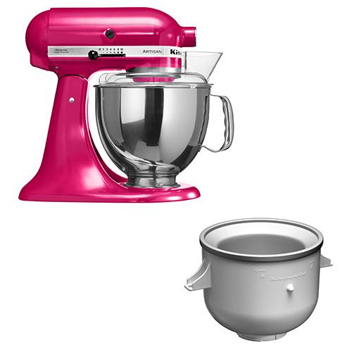Il robot da cucina Artisan si può trasformare anche in una gelatiera grazie all'apposito accessorio. Il liquido all'interno delle pareti doppie della ciotola refrigerante si diffonde uniformemente, continuando il processo di congelamento durante tutta la miscelazione. Si produce fino a 1,9 litri di gelato, sorbetto e semifreddo di consistenza soffice (110 euro)