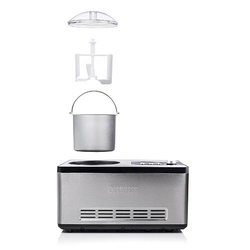 Ice Cream Maker DeLuxe di Princess è una gelatiera automatica e auto refrigerante che prepara 2 chilogrammi di gelato in 60 minuti. La gelatiera richiede solo di aggiungere gradualmente gli ingredienti previsti dalla ricetta e di impostare il programma più adatto; la miscelazione e il congelamento avverranno in modo automatico (449 euro)