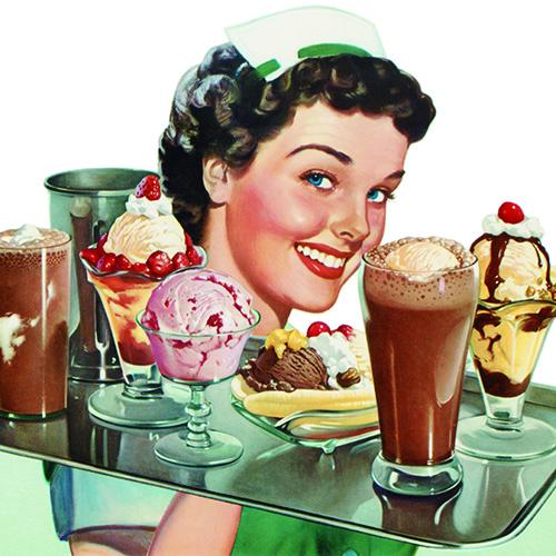 Un'illustrazione pubblicitaria statunitense degli anni Cinquanta: come spiega l'autore è in questi anni che in Italia il gelato entra a far parte della vita delle persone (Getty images)