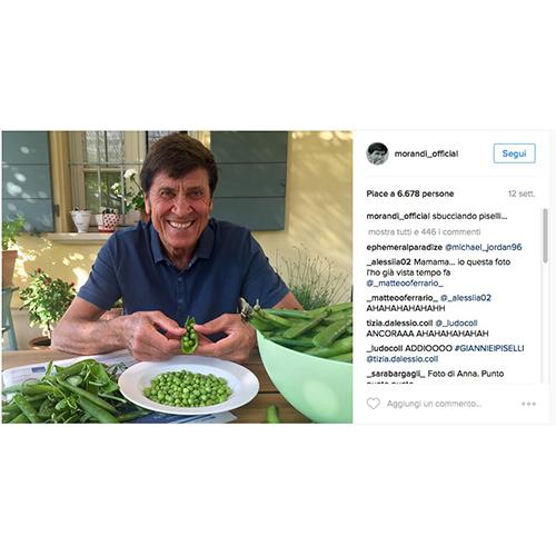 Gianni Morandi alle prese con le verdure