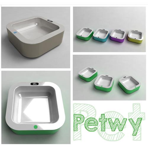 Petwy, ciotola con bilancia pesa cibo e App per il controllo nutrizionale. Prototipo di Stefano Bresciani per Design Competition