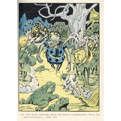 Attilio Mussino, Il nano malefico, tavola fuori testo per Carlo Dadone Le avventure di Capperina, Bemporad, Firenze s.d. (1908)
