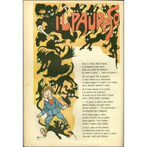 Attilio Mussino, illustrazione per Il pauroso, di Ida Alliaud in ?La Domenica dei Fanciulli?, anno XI, n. 36, 4 settembre 1910. Paravia, Torino