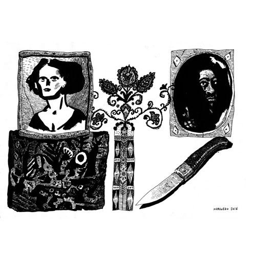 Marco Corona aka Marcio Cancrena, dalle serie Cosario: un po? di Poe, 2016, inchiostro su carta, 33x48 cm