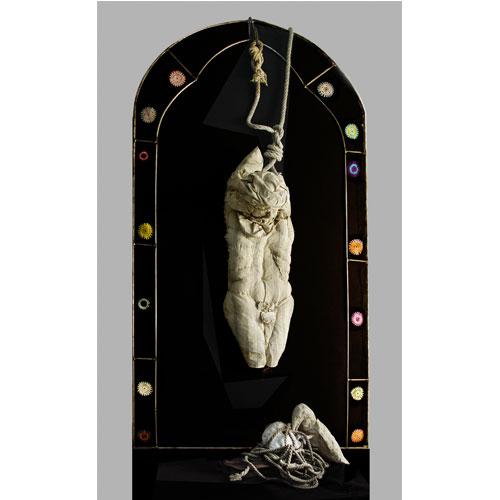 Silvia Manazza, Giuda, perché proprio io..., 2016, tecnica mista su stoffa, 230x120 cm