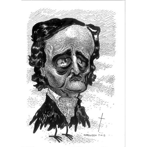 Marco Corona aka Marcio Cancrena, dalla serie Poe, 2015 inchiostro su carta, 29,7x21 cm