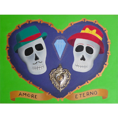 Renzo Riva per Breaking Bones Art, Amore eterno, 2010, olio e gel acrilico su tela con ex-voto in argento applicato, 30x40 cm