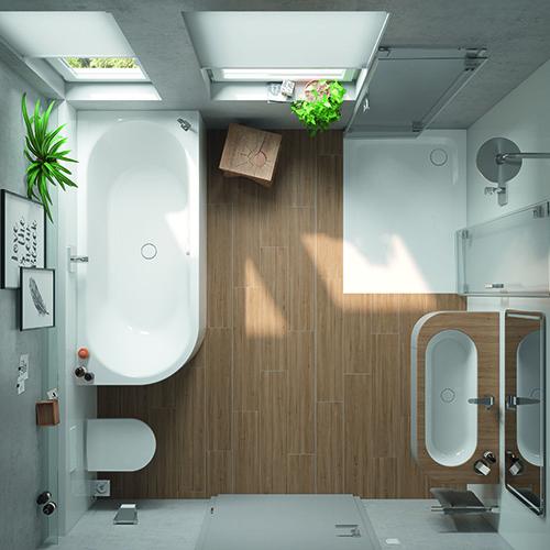 Combinare perfino vasca e doccia? Perché no. Con il suo angolo arrotondato, la vasca da bagno Meisterstück Centro Duo di Kaldewei risparmia preziosi metri quadrati. Lo spazio libero sotto il lavabo regala una sensazione di maggiore ampiezza del pavimento