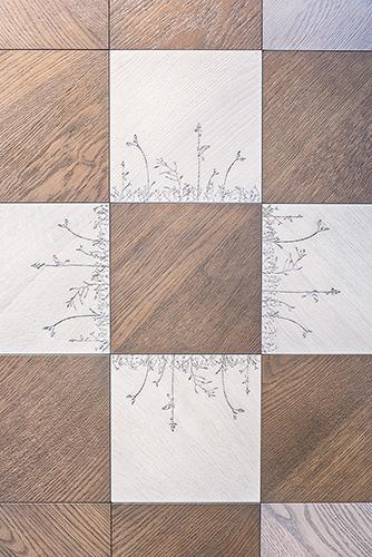 Uno dei pattern della collezione di parquet prefinito Wood di Kiki Van Eijk