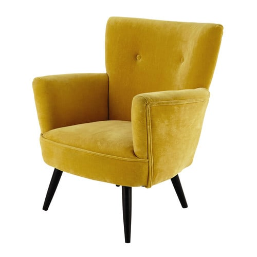 Caldo e accattivante, il giallo senape è tra i colori protagonisti dell'autunno e porta un po' di sole nella stanza. L'accogliente poltrona bergère Sao Paulo di Maisons du Monde è in morbido velluto