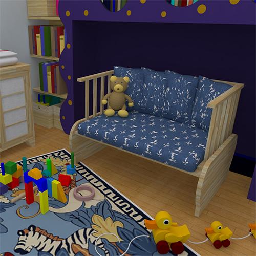 Realizzata in legno massello, Milly diventa un divanetto di modeste dimensioni e quindi particolarmente adatto a un ambiente più piccolo come la cameretta di un bambino