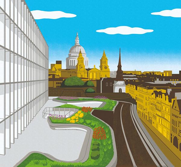 Tra due edifici della città di Londra sorge, al quinto piano, il New Ludgate: un giardino pubblico progettato da Gustafson Porter. Illustrazione di Boyoun Kim
