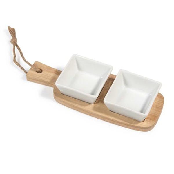 Due coppette più tagliere da aperitivo in bambù di Maisons du Monde, 5,99 euro