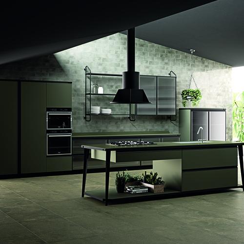 Scavolini partecipa a Living Kitchen esponendo un'ampia selezione di proposte d'arredo per la cucina tra cui il programma Diesel Open Workshop