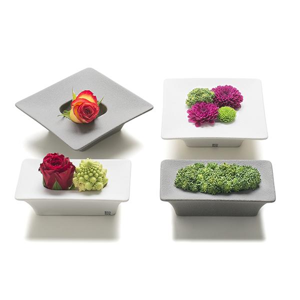 Si chiama Cosmo domestico la collezione disegnata da Giuseppe Bucco per Lineasette. I piccoli contenitori in grés porcellanato sono utili per portare in casa fiori, bulbi e piante grasse