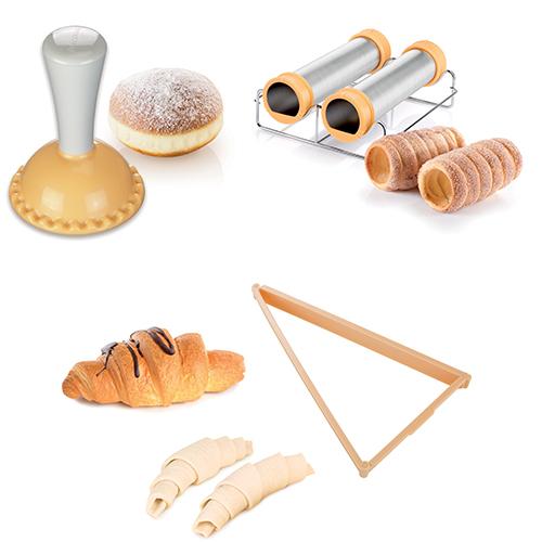 Da Tescoma lo stampo per  per creare krapfen (5,90 euro) e croissant (7,40 euro). Il manicotto di Boemia permette, invece, di realizzare il trdelník, tipico dolce della cucina ceca (23,90 euro)