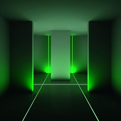 Disegnare gli spazi con la luce, nel progetto Algoritmo di Carlotta De Bevilacqua e Paola di Arianello. Due tipi di sorgenti, fluorescenti e led, permettono di creare sottili linee colorate in continuità tra parete, pavimento e soffitto
