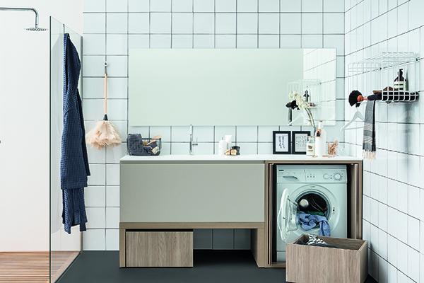 Idrobox di Birex è un sistema poliedrico che permette di creare diverse soluzioni per lavare, asciugare e stirare, inserendosi in ogni spazio: dal piccolo ripostiglio a una vera e propria stanza dedicata al bucato