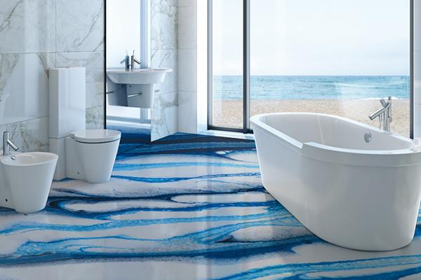 """<em>Colate F5000</em>, una particolare resina di <a href=""""http://www.elektapainting.it"""">Elekta</a>, permette di realizzare su pareti o pavimenti scenografici effetti. Come quello proposto nell'immagine che imita il movimento del mare e tutti i suoi colori"""